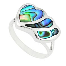 Green abalone paua seashell 925 silver heart ring jewelry size 6.5 a67832 c13267