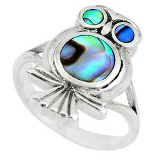 6.26gms green abalone paua seashell 925 silver owl ring size 7.5 a88534 c13465
