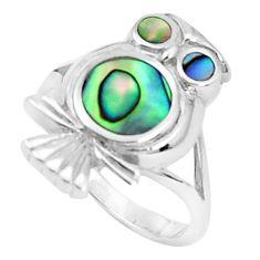 5.89gms green abalone paua seashell 925 silver owl ring size 6.5 a95604 c13315