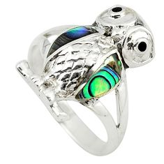 Green abalone paua seashell 925 silver owl ring jewelry size 6 c21668