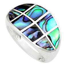 5.69gms green abalone paua seashell 925 silver ring size 5.5 a91981 c13594