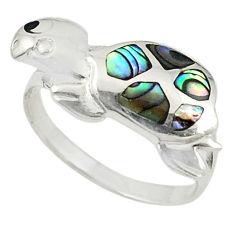 Green abalone paua seashell 925 silver tortoise ring jewelry size 7 c21667