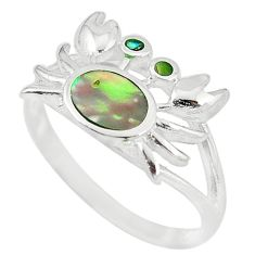 Green abalone paua seashell 925 sterling silver crab ring size 7 a54996 c13372