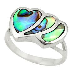 Green abalone paua seashell enamel 925 silver heart ring size 7 c21947