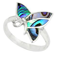 Green abalone paua seashell enamel 925 silver ring jewelry size 7 a67701 c13236
