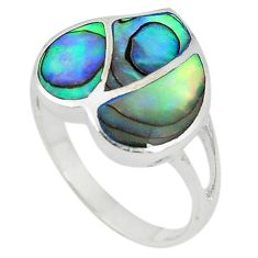 Green abalone paua seashell enamel 925 silver ring jewelry size 7 a67734 c13261