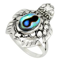 Green abalone paua seashell enamel 925 silver ring jewelry size 7 c11937