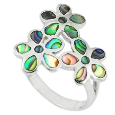 Green abalone paua seashell enamel 925 silver ring jewelry size 8 c12611