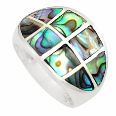 5.26gms green abalone paua seashell enamel 925 silver ring size 6 a91982 c13573