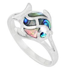 3.02gms green abalone paua seashell enamel 925 silver ring size 8 c12831
