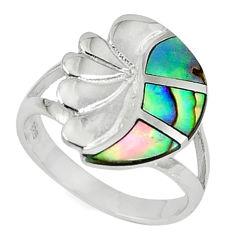 Green abalone paua seashell enamel 925 sterling silver ring size 6 a59502 c13270