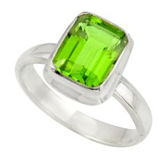 3.29cts green alexandrite (lab) 925 silver solitaire ring jewelry size 6 d47487