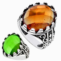 Green alexandrite (lab) 925 sterling silver mens ring size 9.5 c11166