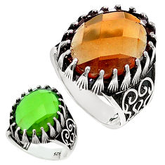Green alexandrite (lab) 925 sterling silver mens ring size 10.5 c11227
