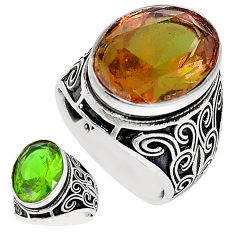 Green alexandrite (lab) 925 sterling silver mens ring size 9.5 c11043