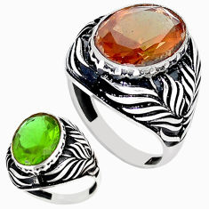 Green alexandrite (lab) 925 sterling silver mens ring size 8.5 c11102