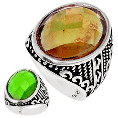 Green alexandrite (lab) 925 sterling silver mens ring size 10 c11084