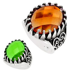 Green alexandrite (lab) 925 sterling silver mens ring size 10 c11228