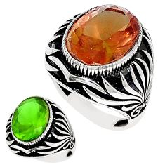 Green alexandrite (lab) 925 sterling silver mens ring size 9 c11156