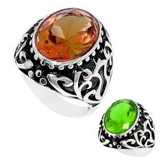 Green alexandrite (lab) 925 sterling silver mens ring size 9 c11153