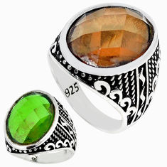 Green alexandrite (lab) 925 sterling silver ring jewelry size 10 c11093