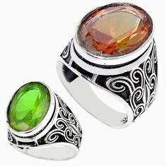 Green alexandrite (lab) 925 sterling silver ring jewelry size 11 c11049
