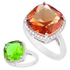 9.31cts green alexandrite (lab) cushion white topaz silver ring size 9 c23356