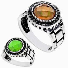 Green alexandrite (lab) round topaz 925 silver mens ring size 9 c11219