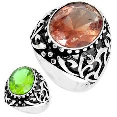 10.82cts green alexandrite (lab) 925 silver mens ring jewelry size 9 c11142