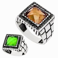 Green alexandrite (lab) topaz 925 silver mens ring jewelry size 10 c11101
