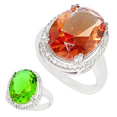 11.89cts green alexandrite (lab) topaz 925 silver solitaire ring size 7 c23305