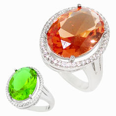 12.65cts green alexandrite (lab) topaz 925 silver solitaire ring size 8 c23265