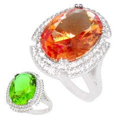 13.36cts green alexandrite (lab) topaz 925 silver solitaire ring size 8 c23336