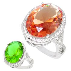 13.45cts green alexandrite (lab) topaz 925 silver solitaire ring size 8 c24253