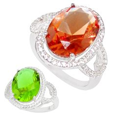 12.71cts green alexandrite (lab) topaz 925 silver solitaire ring size 9 c23315