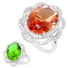 12.65cts green alexandrite (lab) topaz 925 silver solitaire ring size 9 c24249
