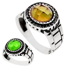 Green alexandrite (lab) topaz 925 sterling silver mens ring size 11.5 c11066