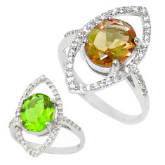 Green alexandrite (lab) topaz 925 sterling silver ring size 6.5 c20592