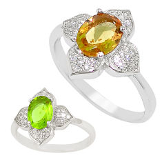 Green alexandrite (lab) topaz 925 sterling silver ring size 7.5 c21788