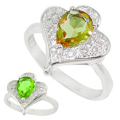 Green alexandrite (lab) topaz 925 sterling silver ring size 6.5 c23701