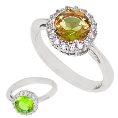 Green alexandrite (lab) topaz 925 sterling silver ring jewelry size 6 c21786