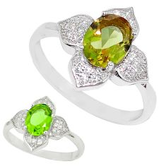 Green alexandrite (lab) topaz 925 sterling silver ring jewelry size 8 c26028