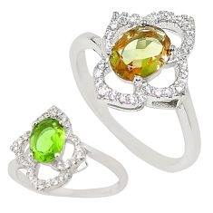 Green alexandrite (lab) topaz 925 sterling silver ring size 6 c21784