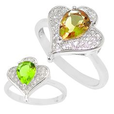 Green alexandrite (lab) topaz 925 sterling silver ring size 7 c21796