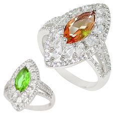 Green alexandrite (lab) topaz 925 sterling silver ring size 8 c21793