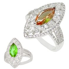 Green alexandrite (lab) topaz 925 sterling silver ring size 8 c21794