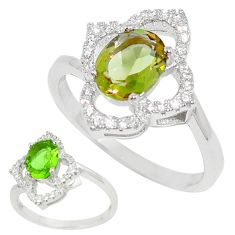 Green alexandrite (lab) topaz 925 sterling silver ring size 8 c23706