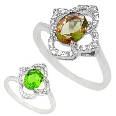 Green alexandrite (lab) topaz 925 sterling silver ring size 8 c24258