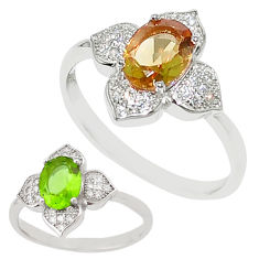Green alexandrite (lab) topaz 925 sterling silver ring size 9 c20642