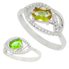 Green alexandrite (lab) topaz 925 sterling silver ring size 9 c23710